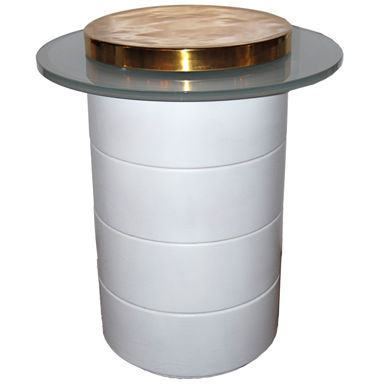 Eugene Schoen  Lighted White Leather Pedestal $8,500