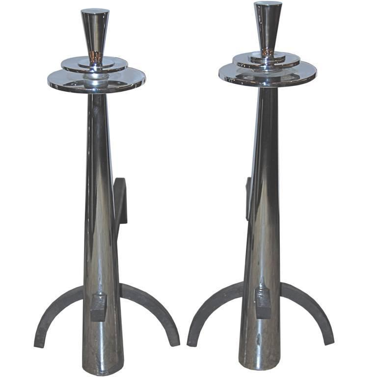 Polished Nickel Mid-Century Andirons $2,500