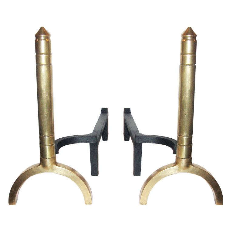 American Art Deco Brass Andirons $2,500