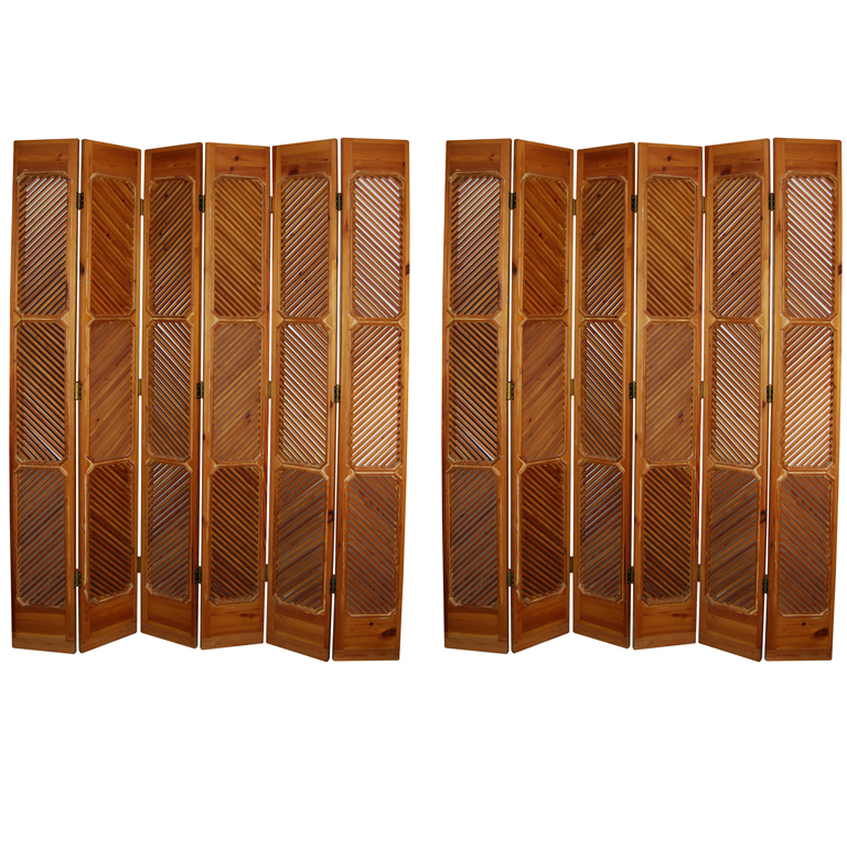 John Dickinson  Pair of Louvered Pine Paravents $19,500