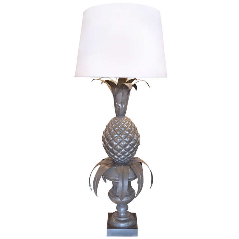 "Zinc ""Pineapple"" Table Lamp $1,600"