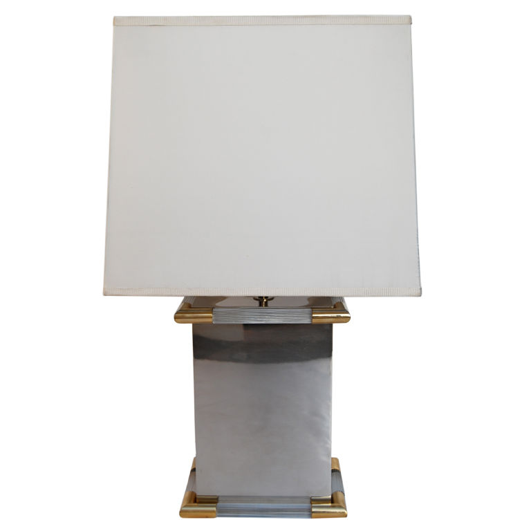 Tommaso Barbi  Steel & Lucite Table Lamp with Gold Trim $1,400