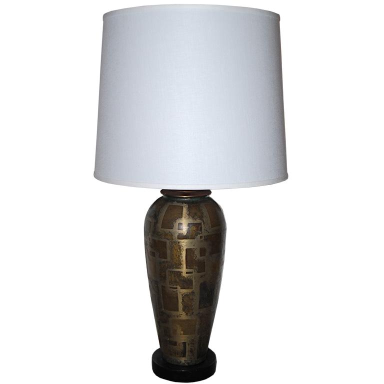 Paul Louis Mergier   Dinanderie Metal Table Lamp $4,500