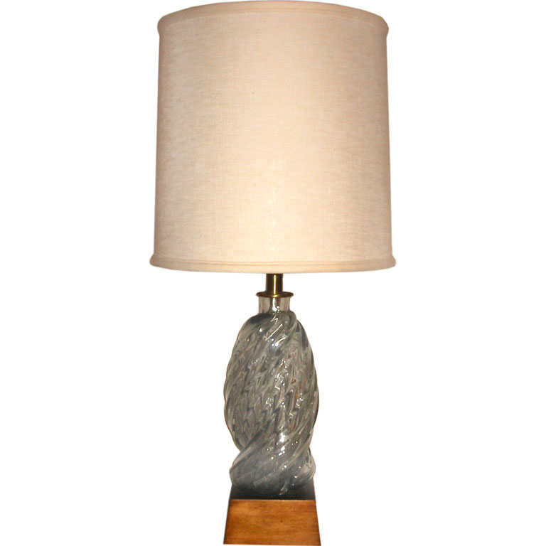 Venini  Grey Twisted Glass Table Lamp $2,500