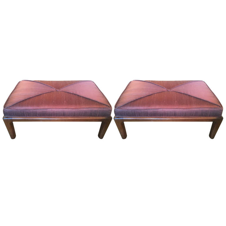Maurice Bailey  Pair of Monteverdi Young Silk Top Walnut Stools $4,000
