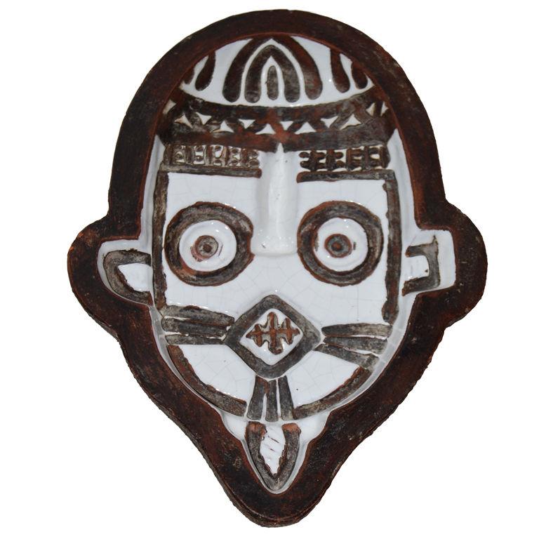 Ugo Zaccagnini  Rare Pottery Mask $1,400