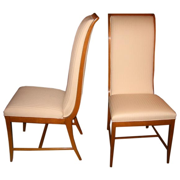 French  Pair of 1940's  Curvaceous Fruitwood Chairs $2,400