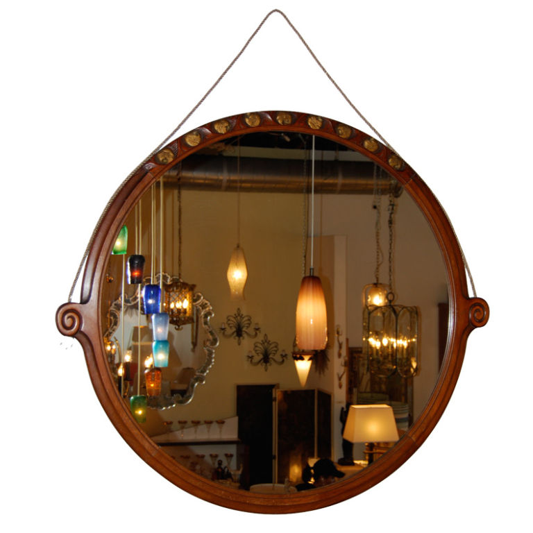 French  Massive Round Art Deco Wall Mirror $4,500