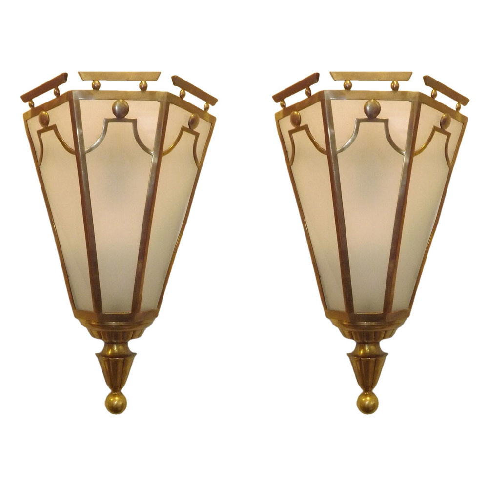 Gio Ponti  Bronze Sconces from the Hotel Bristol $14,500