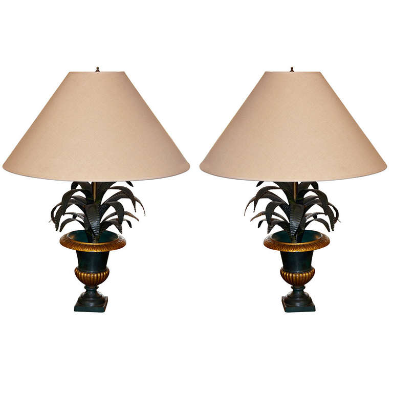 French Pair of Tole Palm Frond in Urn Table Lamps $4,900