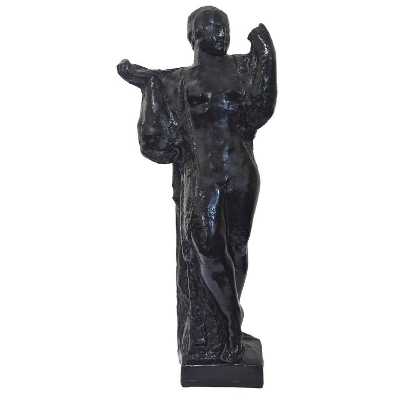 Charles Malfray  Bronze Sculpture of a Draped Woman $12,500