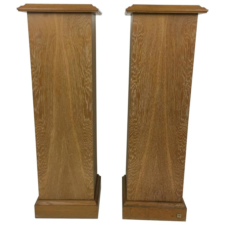 Jean Claude Mahey  Cerused and Travertine Pedestals $6,500