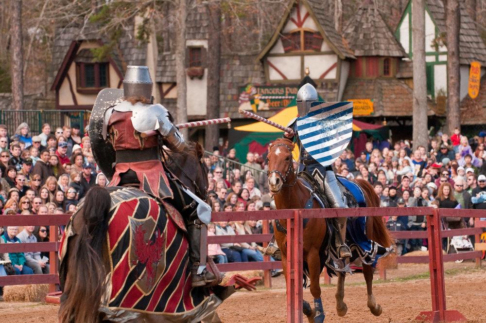 Jousting Knights on Horseback