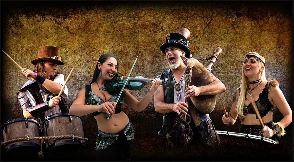 The CRAIC Show!  ( pronounced CRACK ) This Celtic rock steampunk, barbarian blended band of minstrels features roguish vocals, a rhythmic mandolin, a harmonizing violin, intense percussion and blaring bagpipes.  The CRAIC Show is fresh, high energy olde world music!