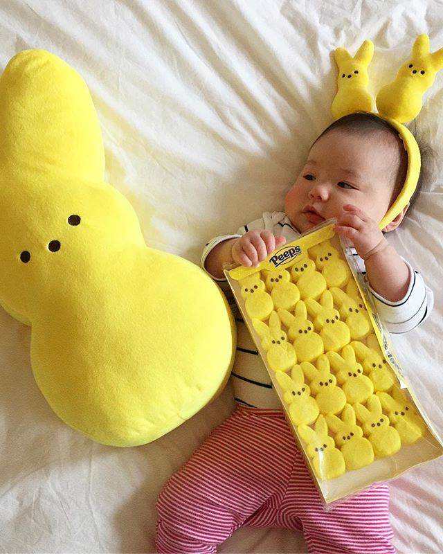 """Stop stealing my thunder"" -@averykiyoko #peeps  Thank you to the Kruh Family for the Easter care package for Avery 🐰🐣"