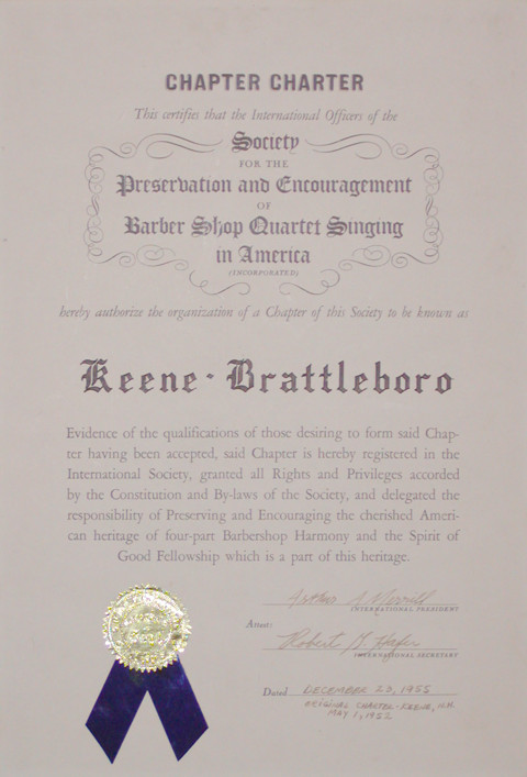 Chapter charter - 1952 keene-brattleboro chapter SPEBSQSA (SELECT to enlarge)
