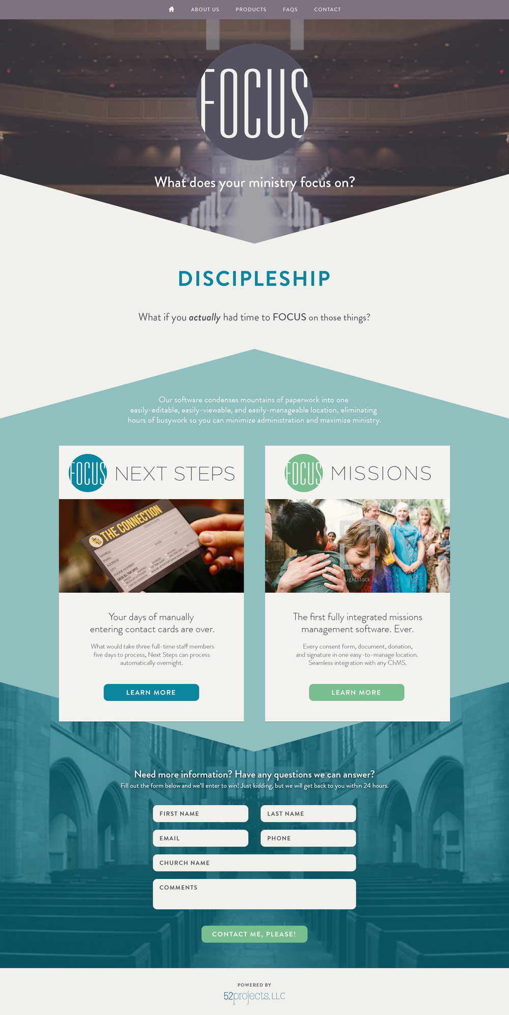 Focus : Church and ministry software designed to minimize admin and maximize ministry |  Currently in development