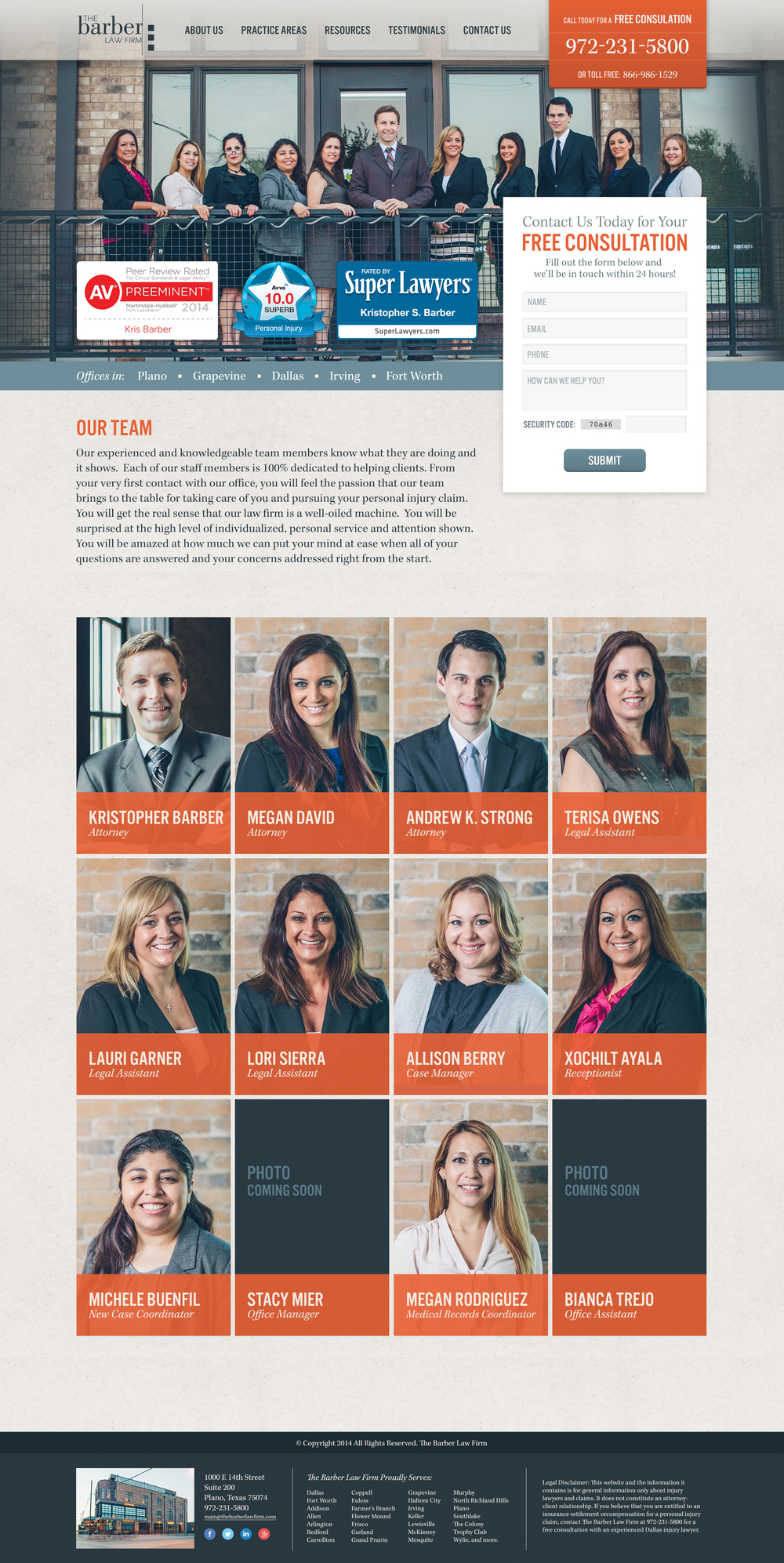 The Barber Law Firm : Personal injury attorney based in North Texas (Our Team page shown) |  Developed by Caleb White