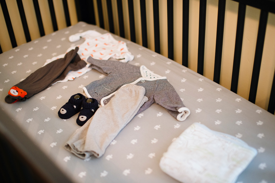 coming home clothes in baby crib