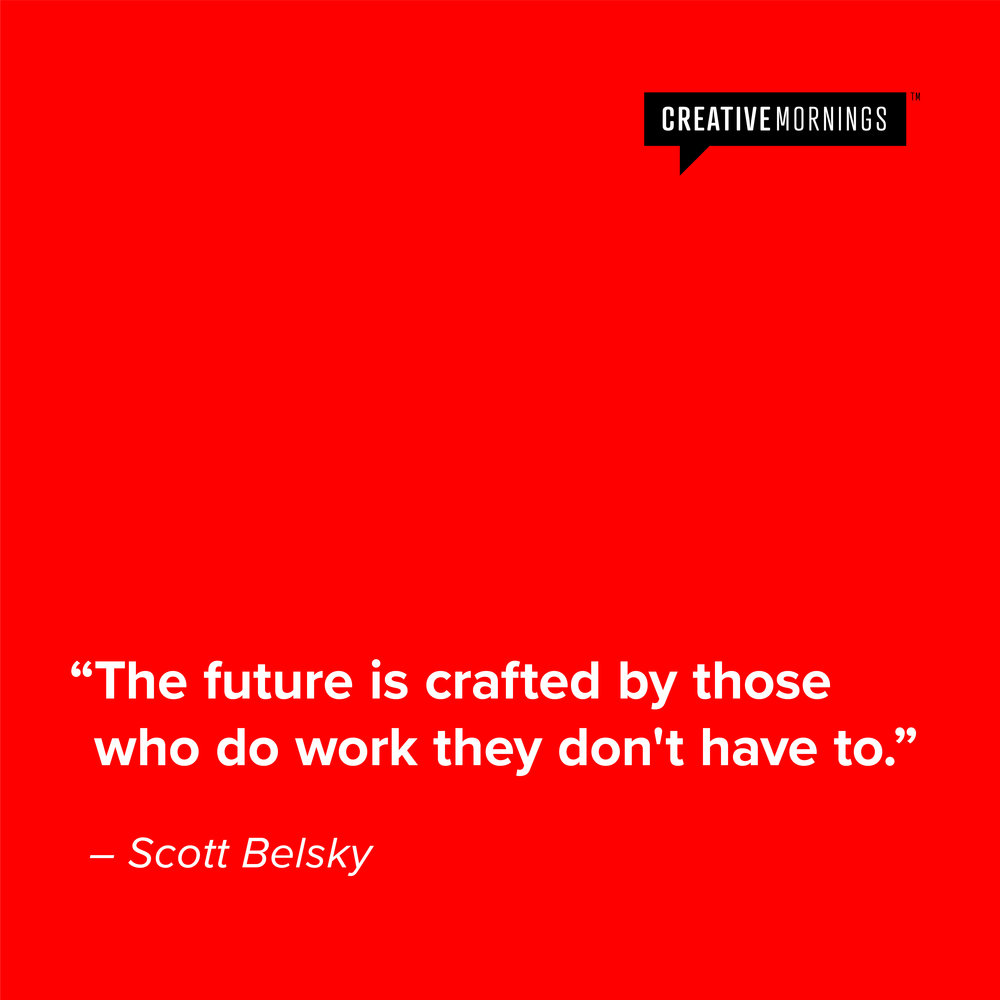 An example of a fun quote included in every Creative Mornings newsletter.