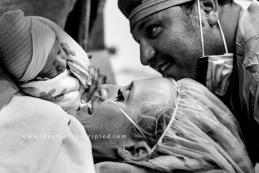 Their fourth child. Their first boy. Lovingly welcomed via her first cesarean.    www.theartofunscripted.com