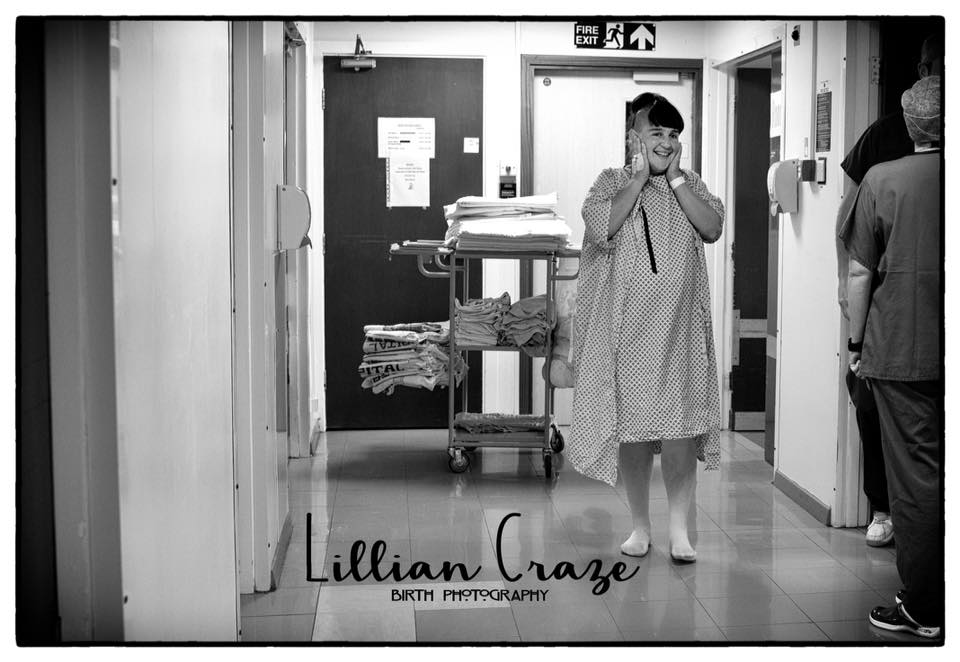 Here's a mum starting the long walk down the corridor to welcome and meet her baby via c-section.   Lcrazebirthphotography.co.uk