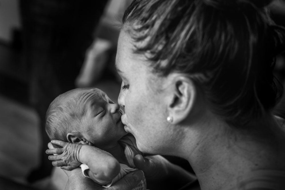 """""""The Greatest Feeling"""" by  Kelly Manweiler   The wrinkly forehead and closed eyes of that baby, and then the mama kiss. Ahhhhhhh......lovelovelove! I remember that wrinkly forehead and sleepy expression. I gave my babies ALL the kisses. This takes me right back to postpartum. I freaking love it."""
