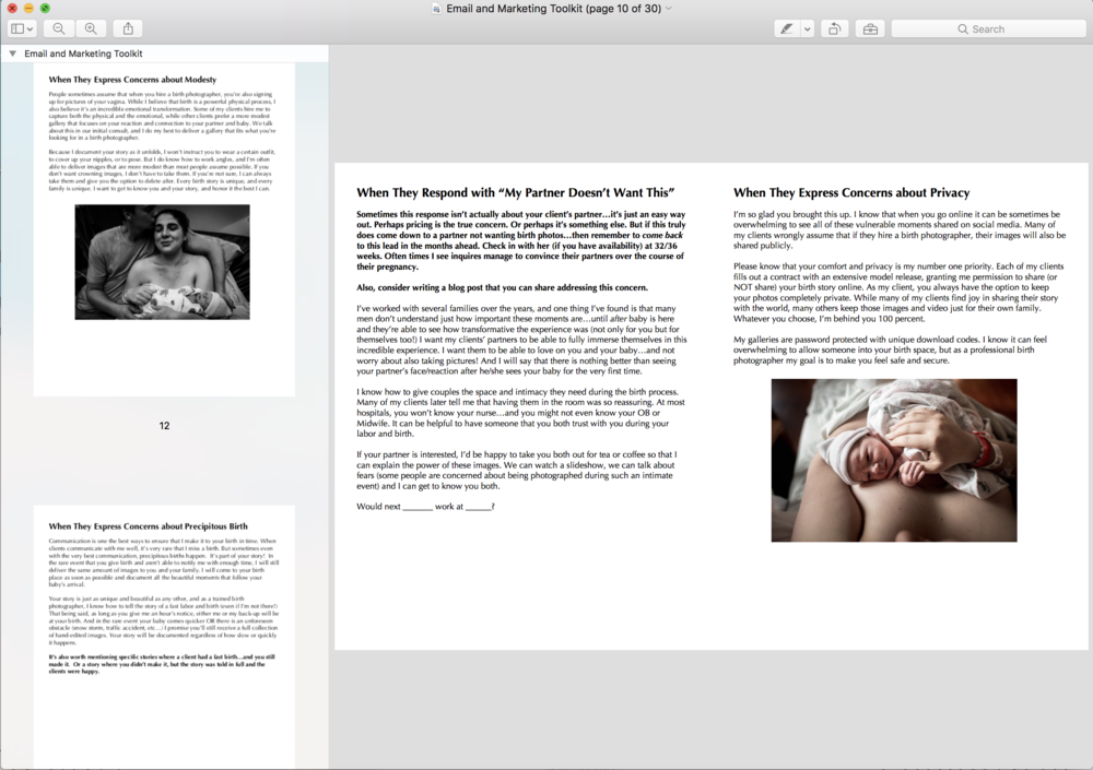 email templates for birth photographers