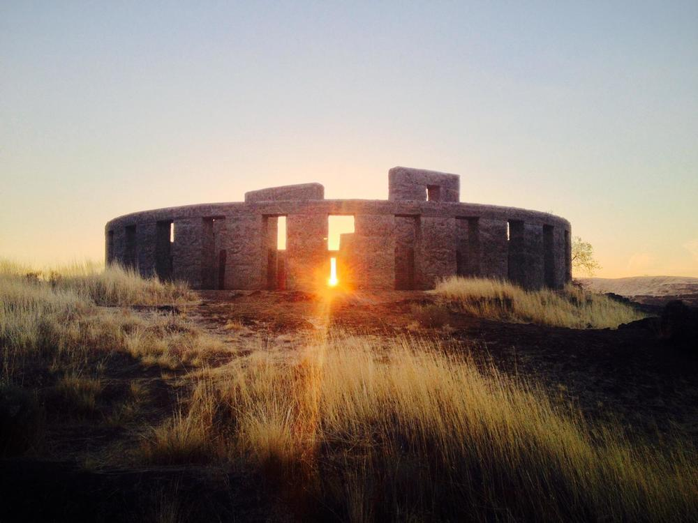 This photo was taken on the fall equinox at Stonehenge. No, not that one. This one is in Maryhill, Washington. The Stonehenge may not be the real thing, but the sunrise definitely is.