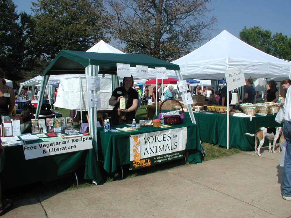 Voices for Animals tent at the 2003 Veggie Fest - photo courtesy of Marianne Roberts
