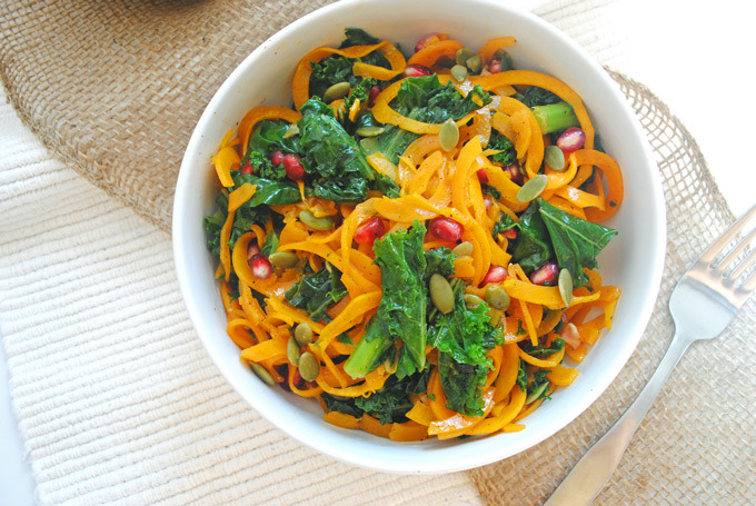 Roasted Butternut Squash Fall Kale Salad