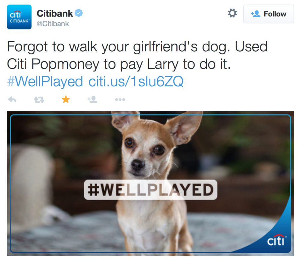 Because everyone needs their chihuahua to be featured at Citibank