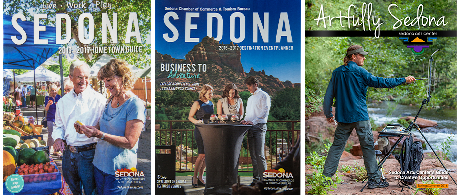 Cover Photos for 2016-2017 Sedona Hometown Guide; 2016-2017 Sedona Destination Event Planner; 2016 Artfully Sedona (Sedona Arts Center)
