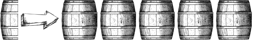 .5 barrel  =  Horrible;    1 barrel  =  Poor;    1.5 barrels  =  Decent;    2 barrels  =  Solid;    2.5 barrels  =  Good;    3 barrels  =  Very Good;    3.5 barrels  =  Excellent;    4 barrels  =  Outstanding;    4.5 barrels  =  Superb;    5 barrels  =  Legendary