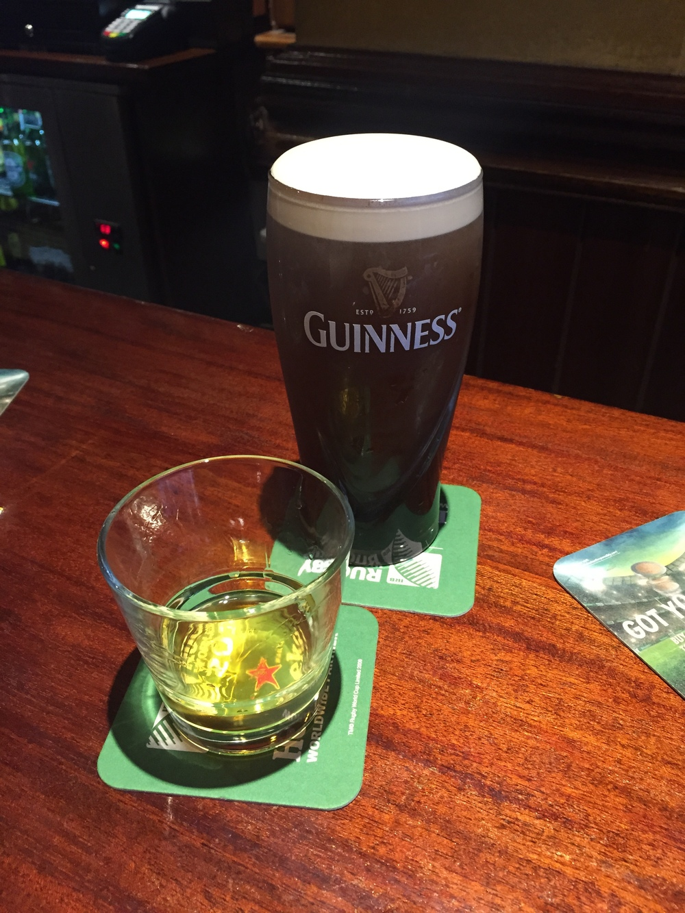 "The ""Irish Double"" (Expertly poured Guinness and Redbreast 12)"