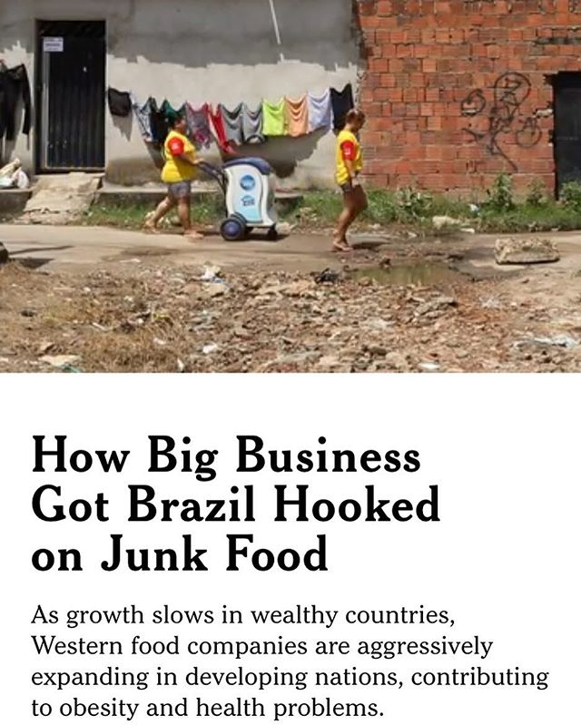 A particularly disturbing article on major American/Western food companies in today's New York Times. If you want to create treats for people in first world countries that's one thing, but how do you justify ramping up on developing countries that don't understand the consequences to their health? https://www.nytimes.com/interactive/2017/09/16/health/brazil-obesity-nestle.html #goodleafsmoothies #thegoodleaf #smoothie #smoothies #greensmoothie #organic #organicfood #health #healthy #diet #fit #fitness #exercise #yoga #food #nutrition #weightloss #gym #vegetarian #vegan #nyc #brooklyn #fruit #vegetables