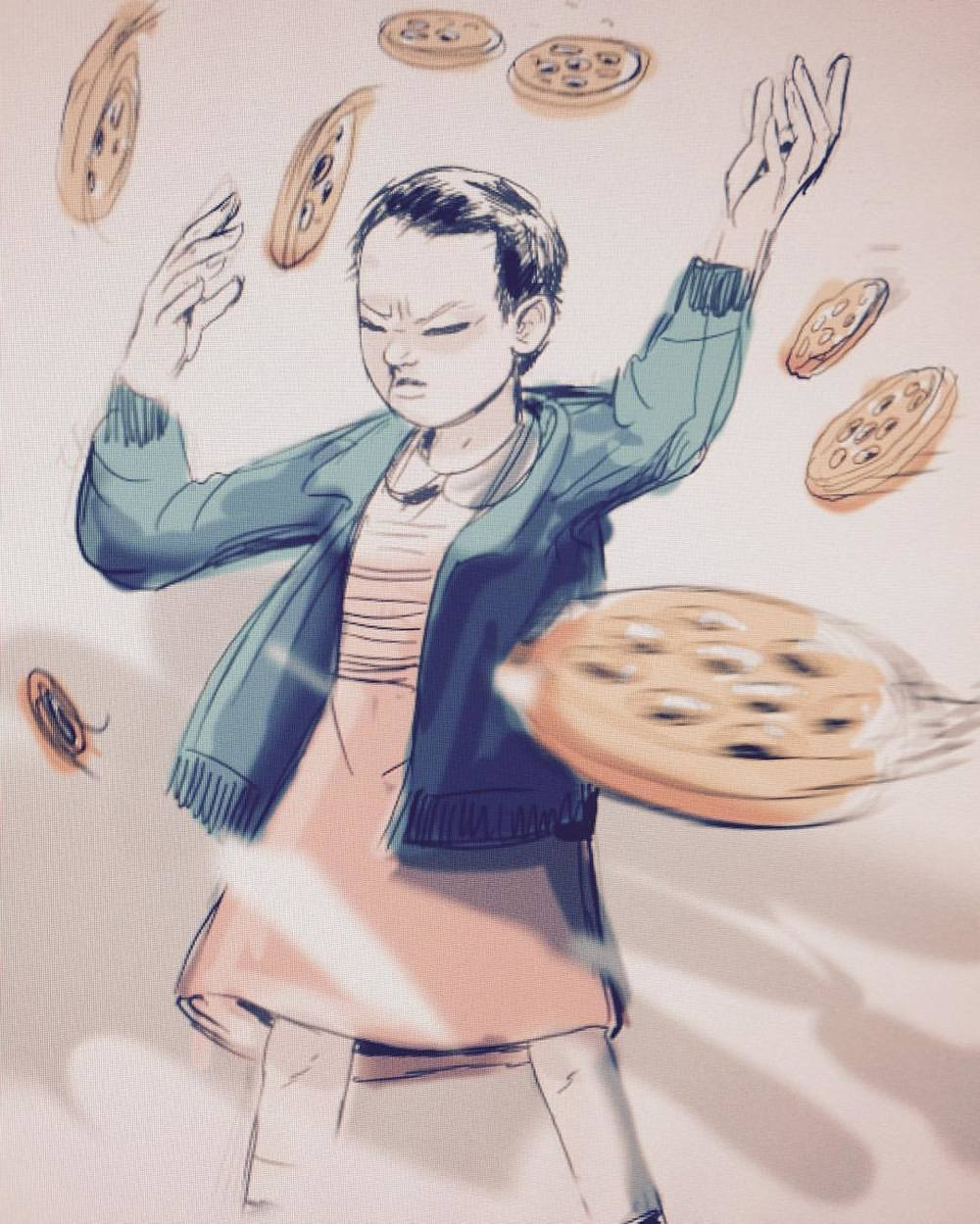 Stranger Things - Eleven with Eggos sketch