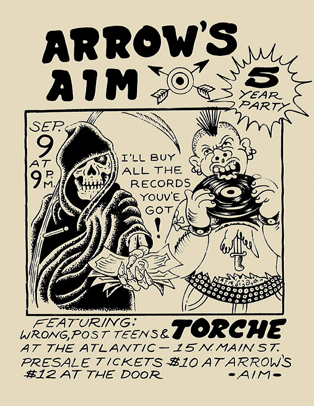 ARROW'S AIM RECORDS 5 YEAR ANNIVERSARY PARTY!! Arrow's Aim will be having a sale all weekend long (including some inventory at 50% off!) and Saturday evening's entertainment will be provided by South Florida legends TORCHE! with support from Wrong, Post Teens, and more TBA! www.arrowsaimrecords.com https://www.facebook.com/torcheofficial/ https://www.facebook.com/WRONGriff/ https://www.facebook.com/post.teens.7/ Tickets will be available soon at Arrow's Aim!