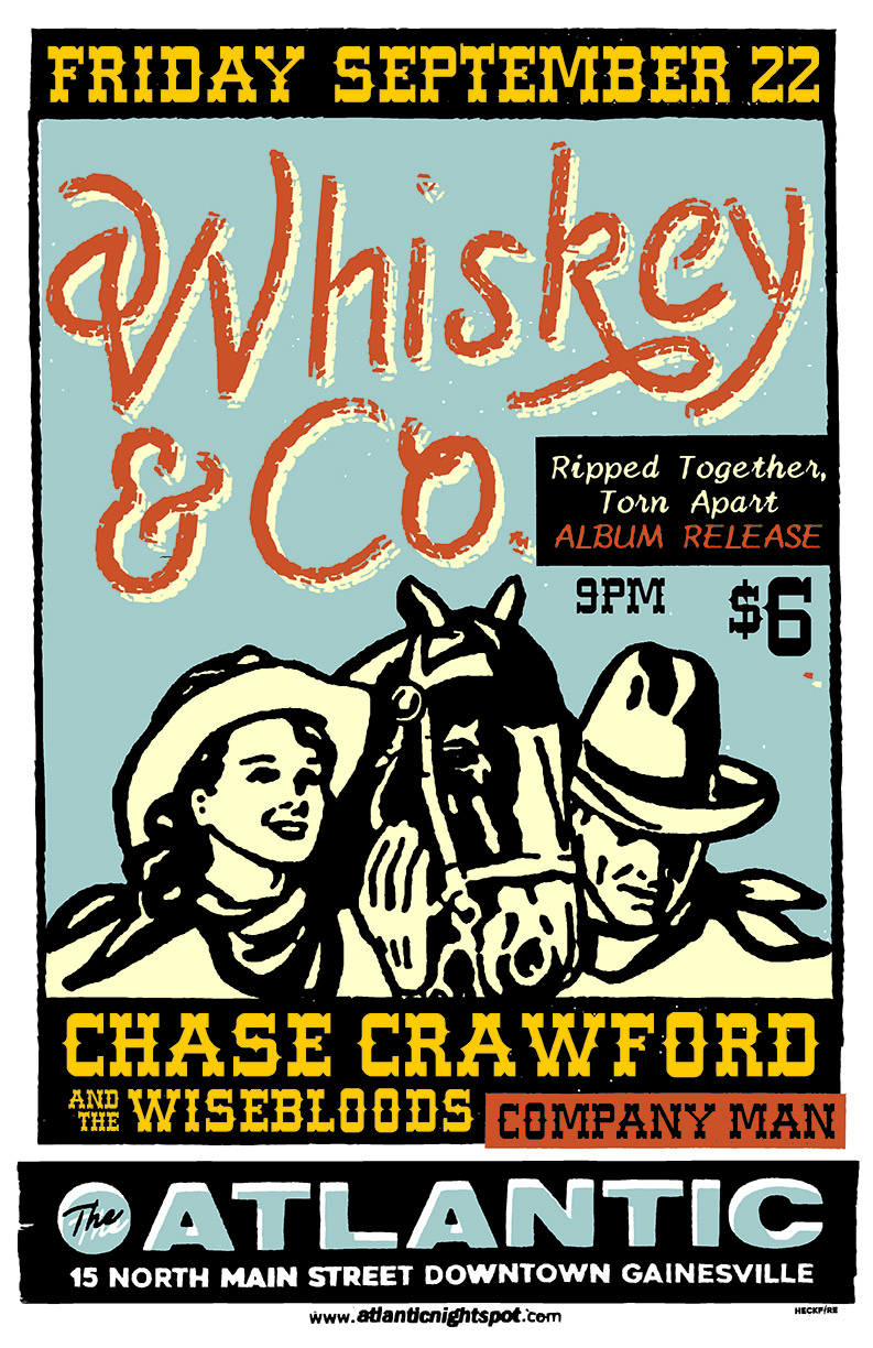 Friday, September 22nd Whiskey & Co (Record Release Show) with/ Chase Crawford & The Wisebloods, Company Man, Rob Coe Doors at 9pm