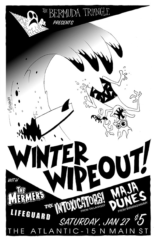 The Mermers and The Bermuda Triangle are hosting Winter Wipeout, an all Surf Show featuring some amazing Surf bands from the south east, The Intoxicators and the Maja Dunes (members of Man or Astroman) and Lifeguard! Come drink some rum and get tikified at The Atlantic on January 27th! The Mermers (south of heaven) https://themermers.bandcamp.com/album/2017-ep The Intoxicators (Tally) https://www.reverbnation.com/theintoxicators Maja Dunes ( Birmingham) https://majadunes.bandcamp.com/ Lifeguard (Gainesville) https://soundcloud.com/jasonarmadillo/john-drake-james-bond