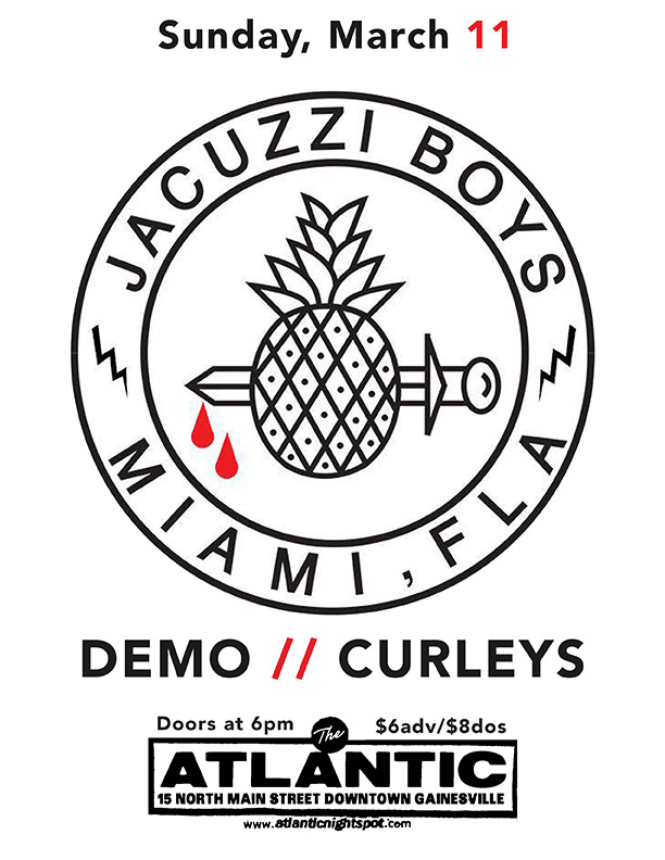 Sunday March 11  Motorbreath GVL  Presents: A Sunday Matinee Show with guests   Jacuzzi Boys  (MIA) /  https://jacuzziboys.bandcamp.com/   Demo  Curleys /  https://curleys.bandcamp.com/releases   Doors at 6pm $6adv/$8dos   Buy Tickets
