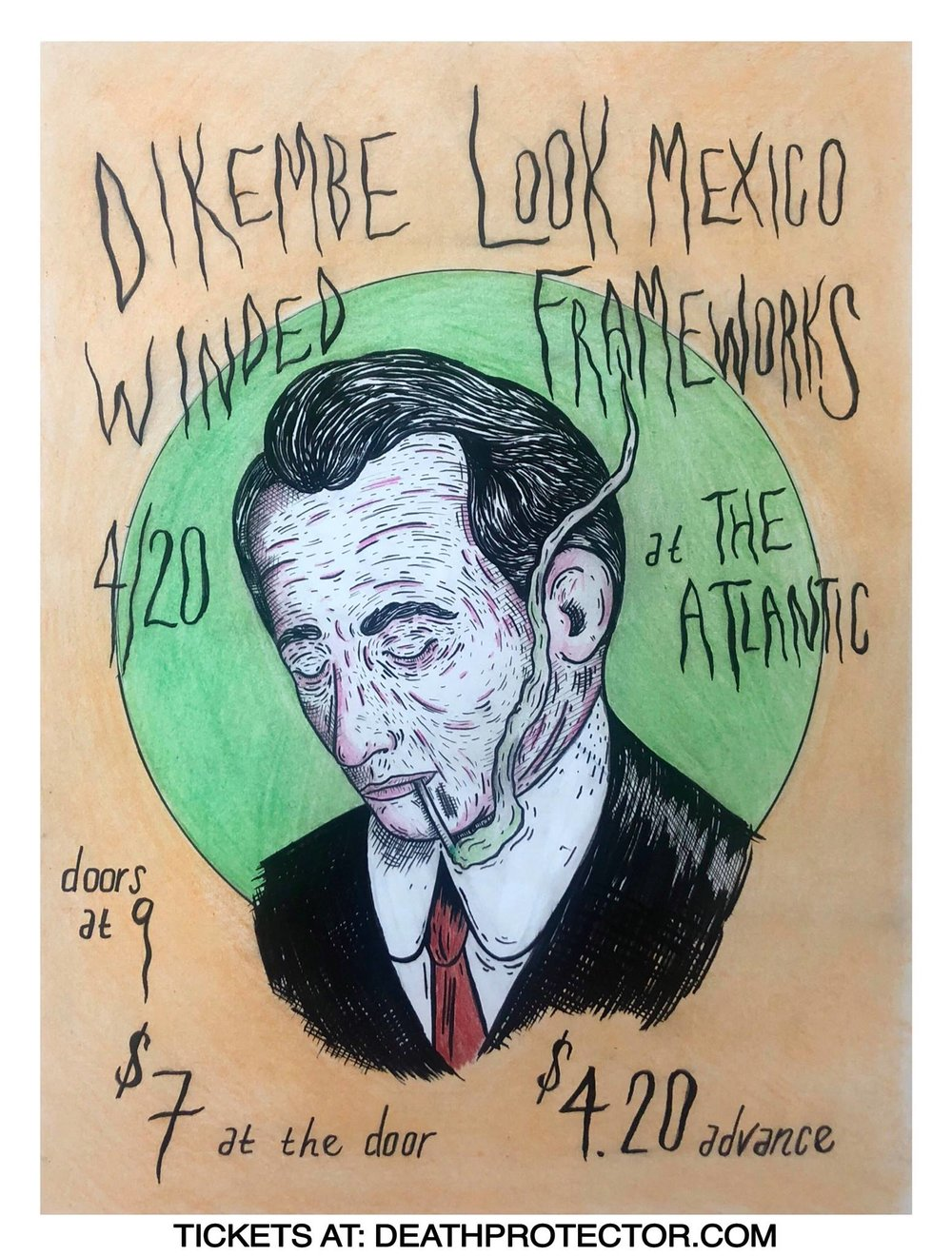 Friday, April 20 2018   Dikembe  /  https://dikembe.bandcamp.com/   Look Mexico  /  https://lookmexico.bandcamp.com/  Winded /  https://winded.bandcamp.com/   Frameworks  /  https://frameworks.bandcamp.com/   Doors at 9pm $4.20 adv/ $7 dos advance tickets available at:  www.deathprotector.com