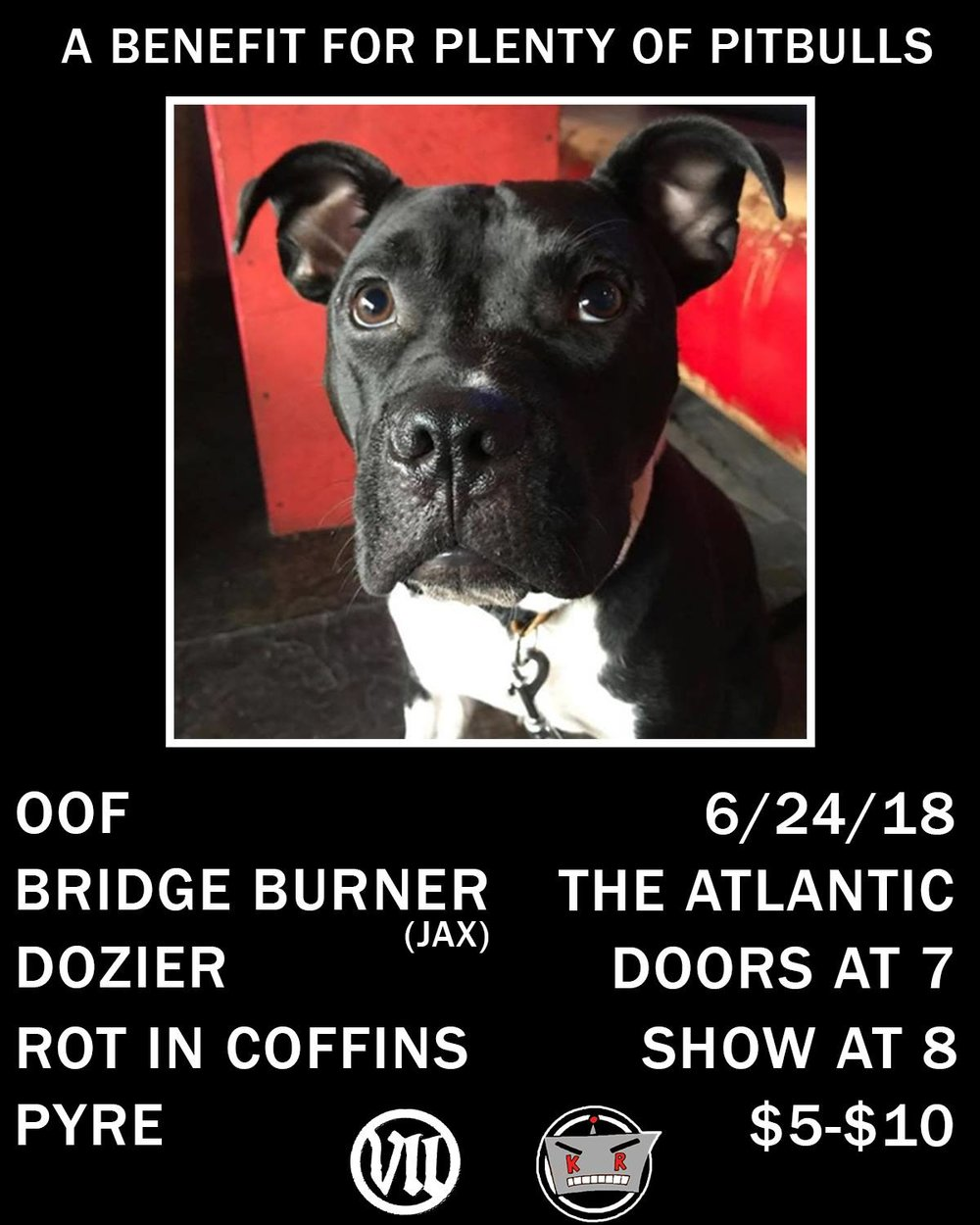 KILLER ROBOT MUSIC & VII RECORDS PRESENT: Pit for Pups: A benefit show for Plenty of Pitbulls.  With:  Bridge Burner (Jacksonville, FL  https://bridgeburnerfl.bandcamp.com   Oof   https://oofgnvfl.bandcamp.com/releases   Pyre  https://pyregvl.bandcamp.com   Dozier  https://dozier666.bandcamp.com/releases   Rot in Coffins  https://rotincoffins.bandcamp.com   For more info about Plenty of Pitbulls:  http://popb.org   Doors @ 7 Show @ 8 $5-$10 sliding scale donations.