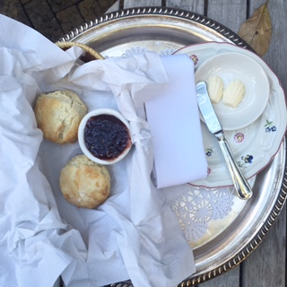 Biscuits hot out of the oven, slathered with butter and fresh homemade jam. Yum!!! I will be back!