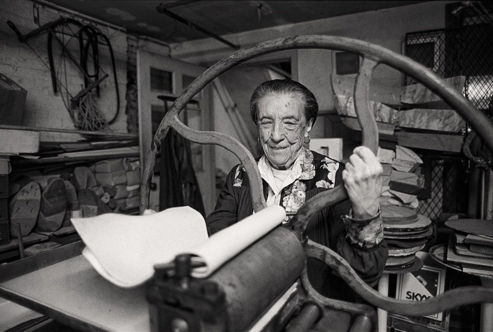 Louise Bourgeois at her printing press