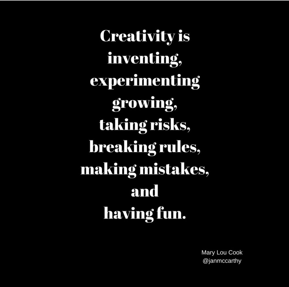 "Creativity is also one of the most important skills you can have. It will help you become a better problem-solver, take more risks and be more inspired, innovative, experimental, and confident!!  So, how do you set your creative talents in motion? There are hundreds of ways, but here are a few to start, begining with your morning practices or rituals if you have them. (If you don't, maybe it's time to start or use these.) Rituals give your brain a rest so that you can ""think creatively� without interuption or pressure.  When you wake up, instead of jumping out of bed in a rush to get to work, take the kids to school, or check your to-do-lists, emails, IG, facebook and other social media channels, take a moment to pause. Warning, you may need to set your alarm about 20 minutes earlier than normal. It's worth it, I promise!)  P.A.U.S.E. Look around you. What do you see that makes you happy? Sunshine streaming in? The tree outside your window, a book beside your bed, a vase of fresh flowers on the table or an art piece on the wall? What needs to happen to have a perfect day? Ponder that for just a moment and envision exactly that kind of day happening.  Get out of bed slowly as you make your way to the kitchen. No, not for coffee, at least not yet! Prepare yourself a cup of warm lemon water. (Some people say to scrape your tongue and brush your teeth so as not to injest toxins, others say don't brush your teeth because the overnight film that happens while you sleep helps to protect your teeth.) I don't know.   Right, wrong, or indifferent, here's what I do .  I scrape my tongue prior but brush my teeth after my drink. I make my lemon water with (1/2 fresh squeezed lemon + 1 cup warm water and some stevia) and then while I'm sipping my drink out of a metal straw, I either read something interesting, learn something of value, and/or write or draw, mindlessly. Ideas beget ideas and you may find your mind spiraling out of control with creative ideas!! Get a journal to record all this extra activity. (Better yet, get one of my books, ""A Month On the Run� either Courage or Freedom  here  for a dose of inspiration and pages for taking awesome notes!)  Wait about 30 minutes after drinking your lemon water before you have coffee/tea and breakfast, but don't hesitate to get moving. I usually try to walk for 30 minutes to an hour to get a boost of physical and creative energy (I also listen to books on tape, music or practice silence to be in the moment, depending on if I'm on a treadmill or walking in nature or citystreets) and then I come back home for a leisurely breakfast and a cup of steaming chaI tea! After a shower, and without sounding too woo woo, I dab a drop of a balancing perfume oil on each wrist to help my energy align with my purpose and then I'm ready for my day! That's when I check emails and social media stuff for about 30 minutes and then move on to my planned activities like painting, creating, or doing the things I do.  The whole point here is to design your own schedule, but please include some kind of creative practice. I will continue to give you ways to be creative. Sign-up for my newsletter to hear the latest!  xo, jan   www.janmccarthy.com       @janmccarthy       jan@janmccarthy.com       https://www.facebook.com/janmccarthystudio/    If you aren't on my newsletter getting the lastest uptodate information, you may be missing out.  Sign up here . Not only will I be offering some really rad online art workshops in the future that I know you will like, (say yes!), but sometimes I randomly select one of my subcribers to receive a gift ! But, you have to be on my newsletter list (not just the blog) to be eligble to win.  Follow me on IG ( @janmccarthy ) to get the lastest photo ops from my neighborhood (whichever one I happen to be in)"