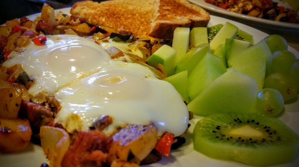 Over Saint Patrick's Day weekend our breakfast includes a corned beef hash, sliced green fruit, and Laura's sourdough bread, made in house fresh daily.