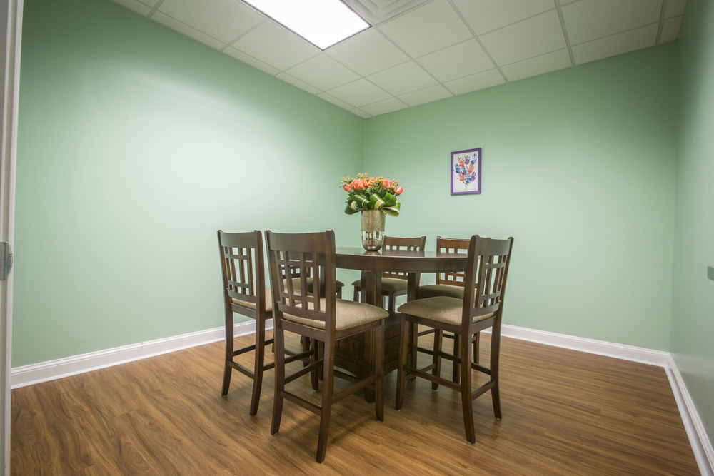 Our conference room where we keep parents up to date on progress and coach them on ways they can accelerate their child's therapy with things they can do at home.