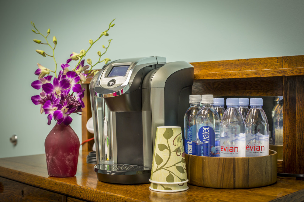 We offer  free high-speed WiFi, coffee, tea, and bottled water.