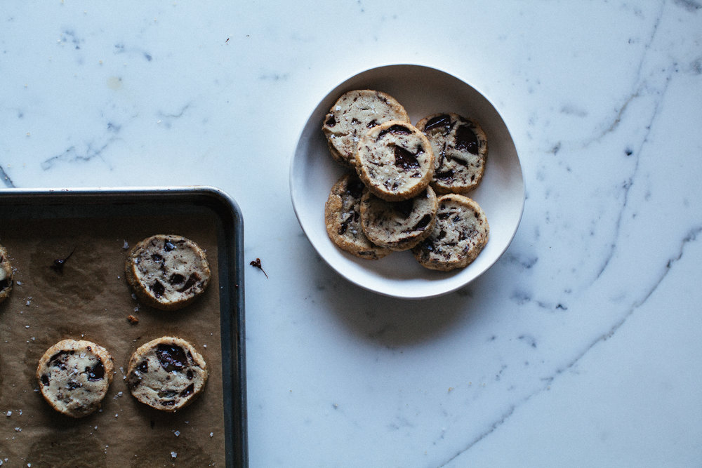 14. on a cookie sheet + plate | chocolate chunk shortbread.jpg